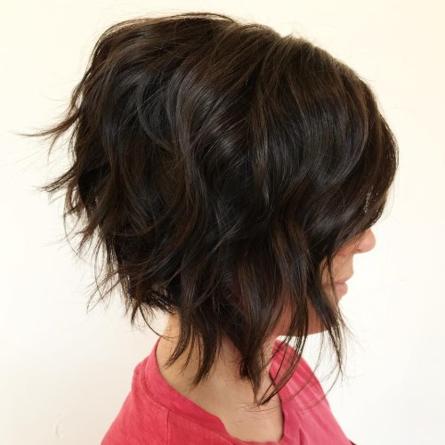 Inverted Wavy Brown Bob