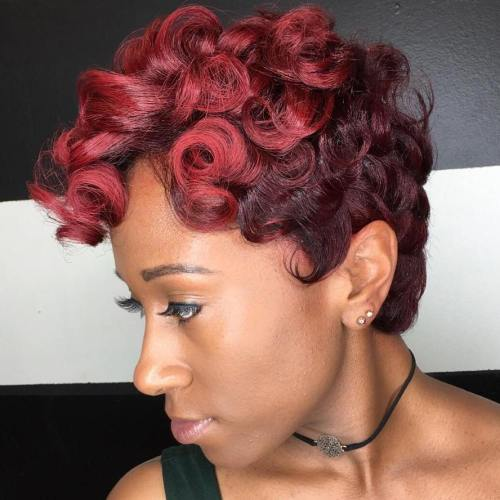 African American Curly Burgundy Pixie
