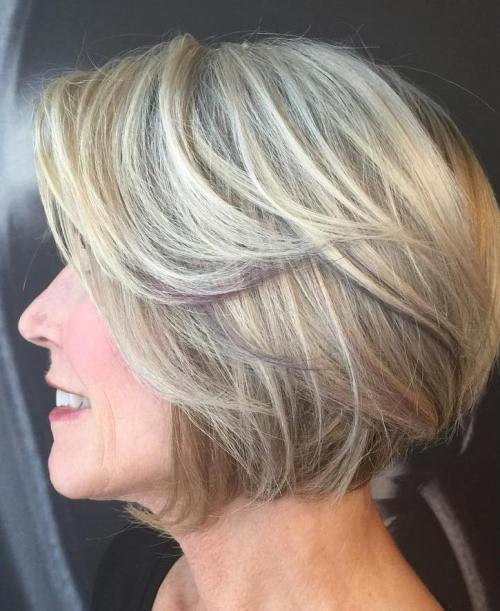Blonde Balayage Bob For Older Women