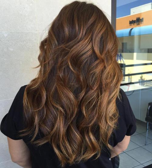 Long Layered Brown Balayage Hair