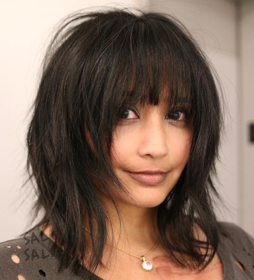 Straight Shag With Arched Bangs