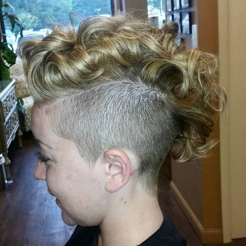 women's blonde curly mohawk with undercut