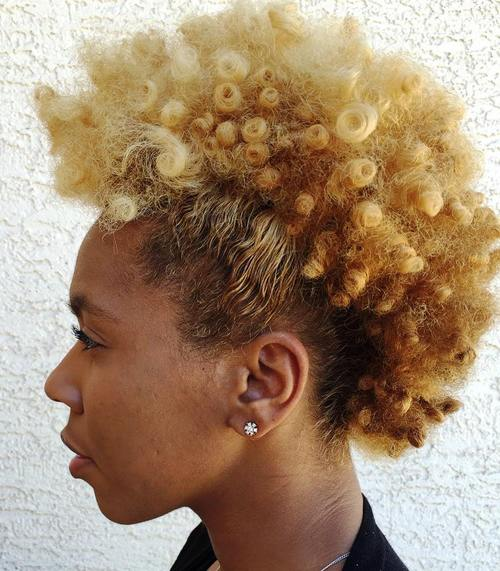 blonde mohawk updo for shorter natural hair