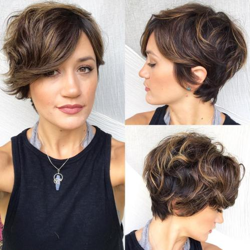Wavy Chocolate Pixie With Caramel Highlights