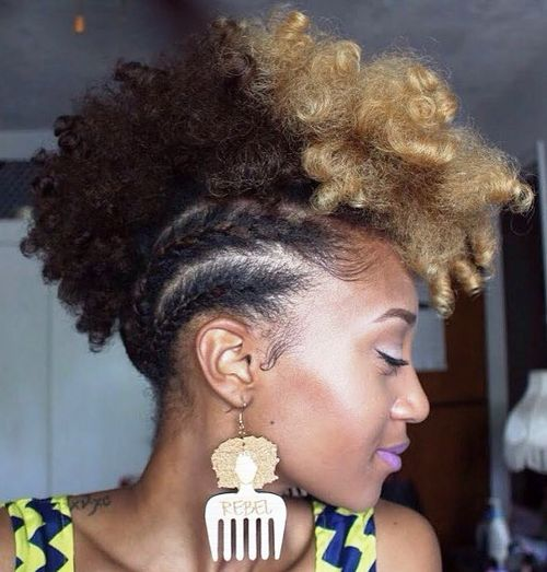 African-American two tone braided mohawk updo