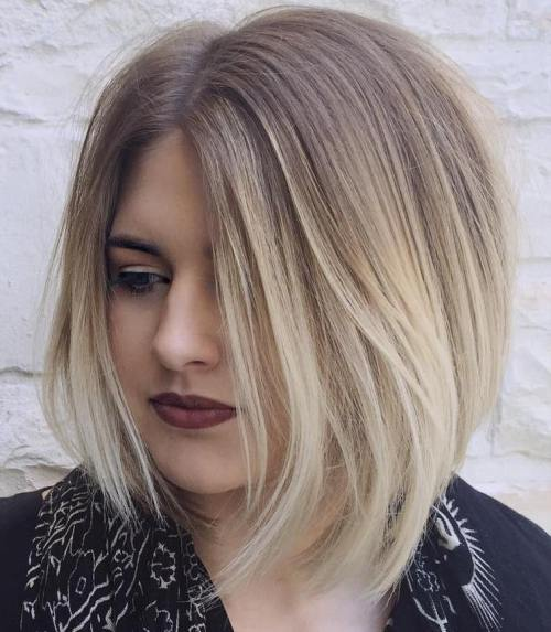 Asymmetrical Ash Blonde Ombre Bob