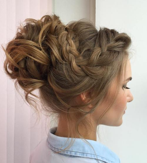 25 special occasion hairstyles the right hairstyles curly messy bun with a braid urmus Choice Image