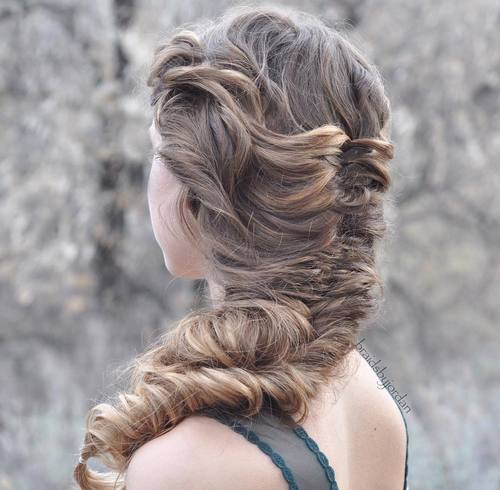 fishtail braid for long curly hair