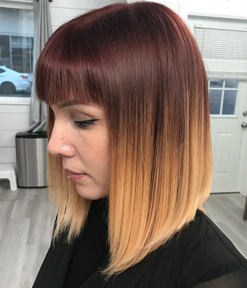 light burgundy ombre with blonde tips
