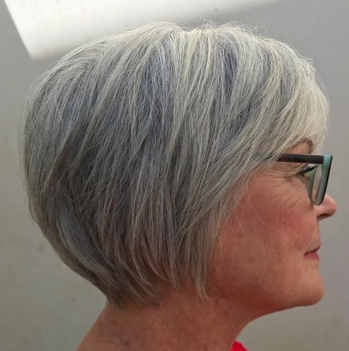 Overgrown Gray Pixie With Bangs