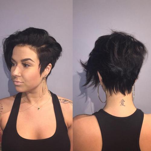 Side Parted Long Pixie