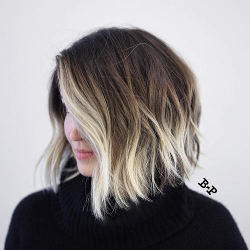 Angled Wavy Brown Bob With Blonde Balayage