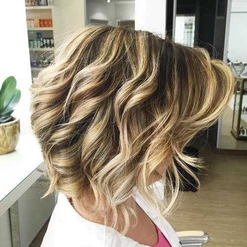 Inverted Wavy Blonde Balayage Bob