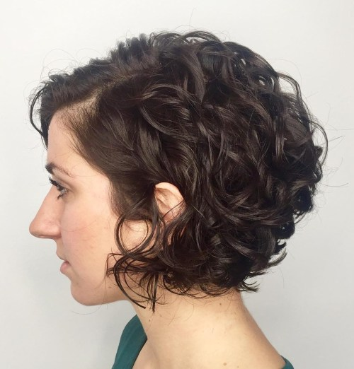 Jaw-Length Curly Bob With Bangs