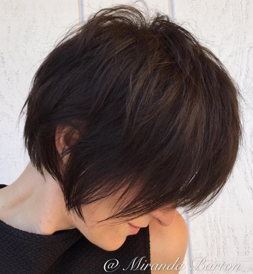 Long Shaggy Dark Brown Pixie