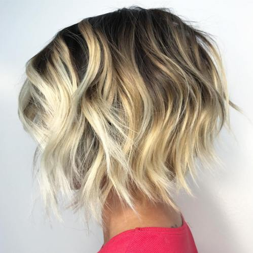 Uneven Razored Bob For Thick Wavy Hair