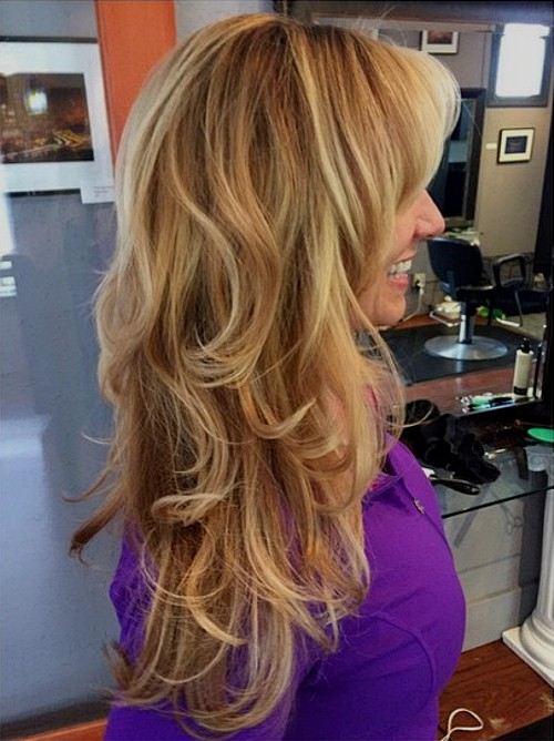long layered caramel blonde hair