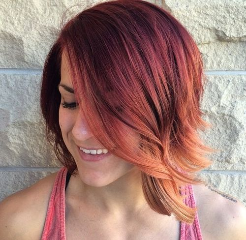 medium layered burgundy to copper ombre hair