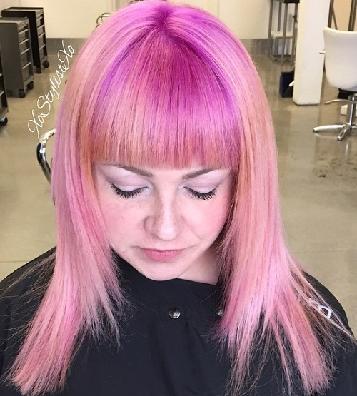 Medium Pastel Pink Hair With Straight Bangs