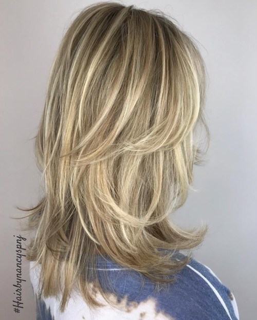 Medium Shag Haircut With Blonde Balayage