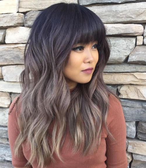 Ash Brown Ombre Hair With Bangs