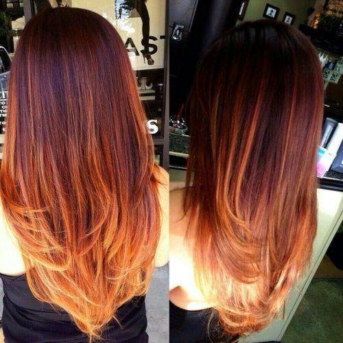 brown to red ombre long hair