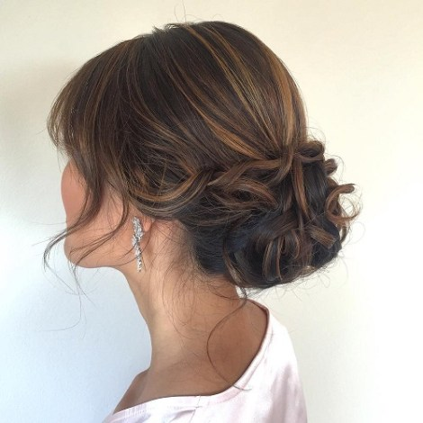 Low Updo With Bangs
