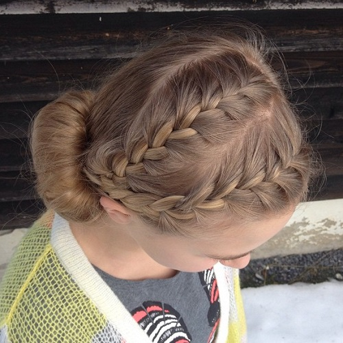 Cute Low Bun With Two Braids