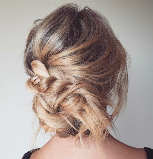Messy Bun With A Braid Updo