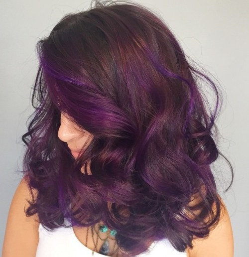 Purple Balayage For Brown Hair
