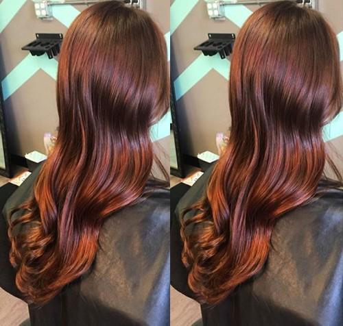 long reddish brown hair