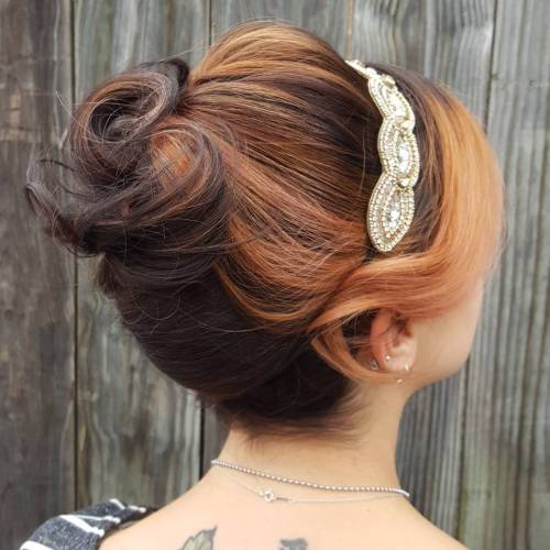 Vintage Updo With Bangs For Shorter Hair