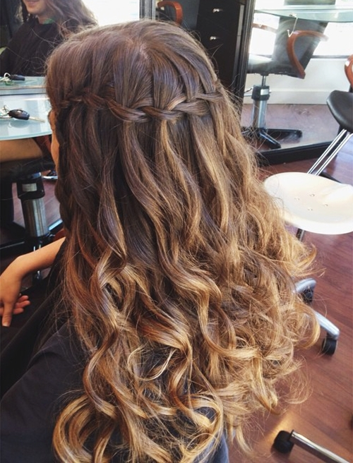 homecoming hair down styles 35 diverse homecoming hairstyles for medium and 1035 | 13 waterfall braid with curls