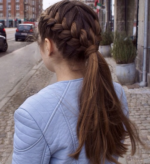 Two Braids And Pony For Long Thick Hair