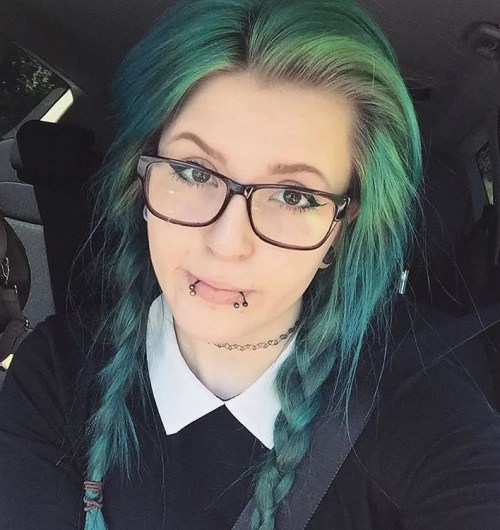 Braided Green Emo Hair