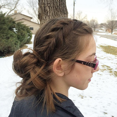 Side Messy Bun And Braid Updo