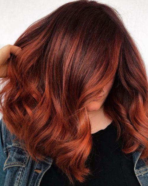 Dark Red into Copper Fade