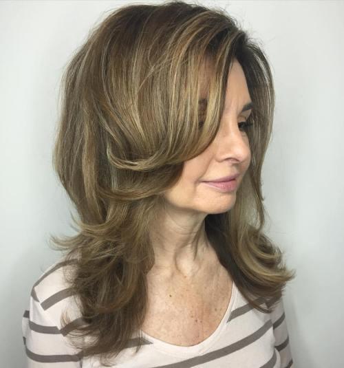 Over Medium Layered Hairstyle
