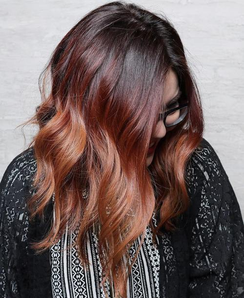 Black, Burgundy And Copper Ombre