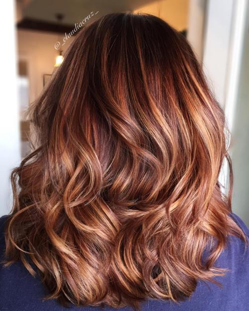 40 fresh trendy ideas for copper hair color burgundy hair with caramel highlights pmusecretfo Image collections