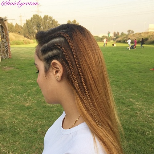 Long Hairstyle For Girls With Three Side Braids