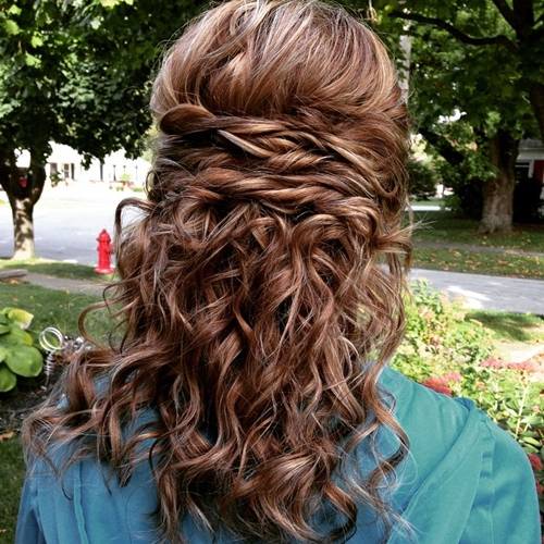 medium curly half updo for homecoming