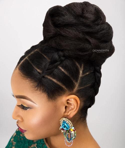 African American Braided Bun Updo