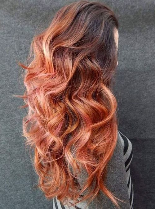 Long Copper Hair With Brown Roots