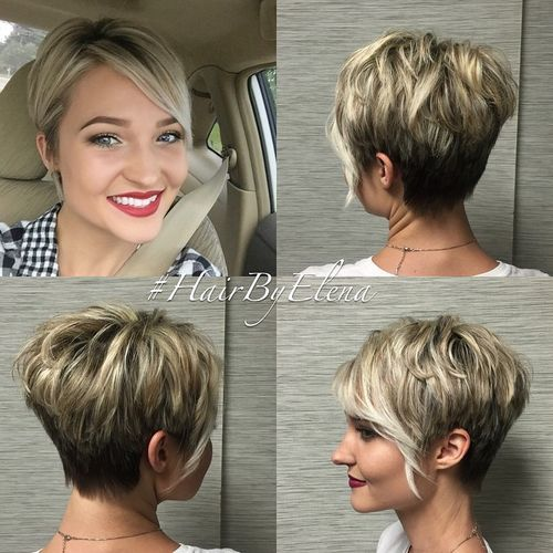short layered brown blonde haircut