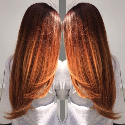 long copper ombre