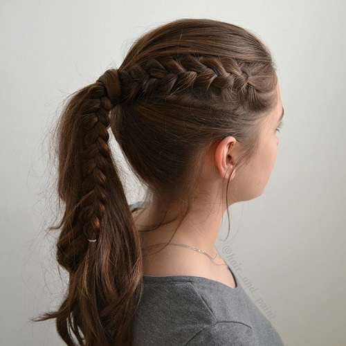40 cute and cool hairstyles for teenage girls ponytail with a side braid urmus