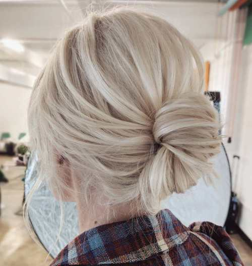 Low Knot Updo For Blonde Hair