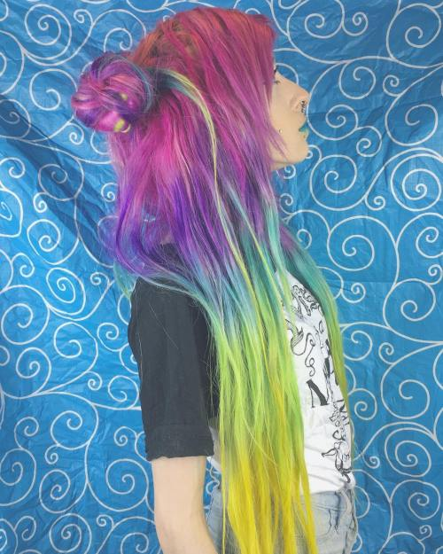 Long Colorful Emo Hairstyle