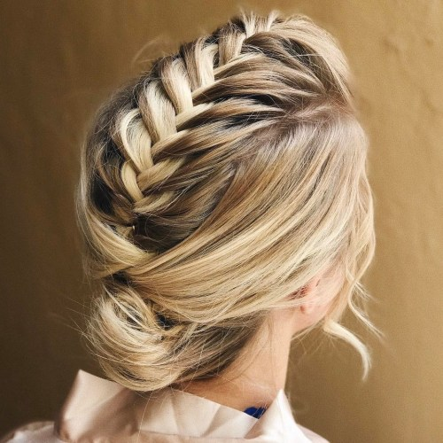 60 easy updo hairstyles for medium length hair in 2017 braid into bun updo for medium hair pmusecretfo Choice Image